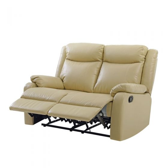 Double Reclining Aaron's Loveseat in Putty Faux Leather
