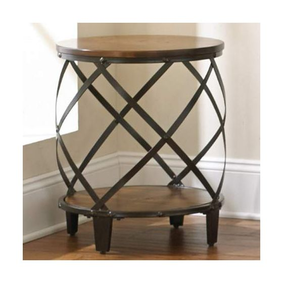 Winston Round End Table in Distressed Tobacco