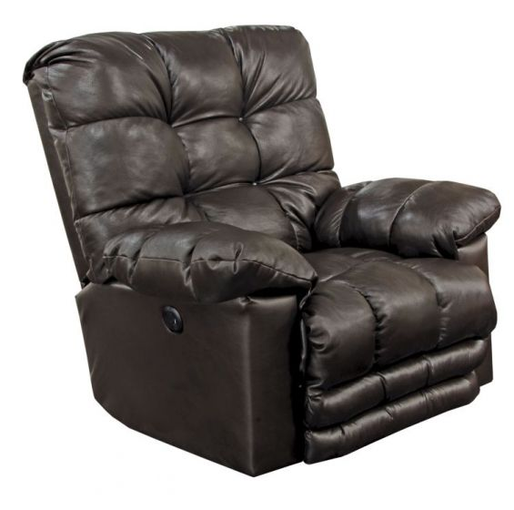 Power Flat Recliner withX-tra Comfort Footrest in Chocolate