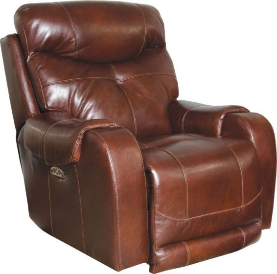 Leather Touch Headrest Power Lay Flat Recliner in Walnut