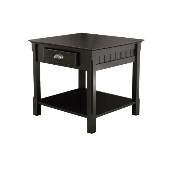 Timber End Table with one Drawer and Shelf