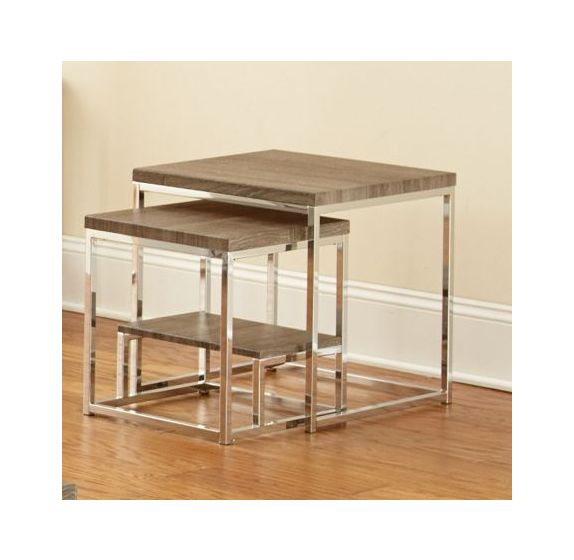 Lucia 2 Pc Nesting Table in Gray & Brown