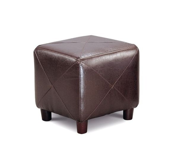 Dark Brown Faux Leather Storage Ottoman