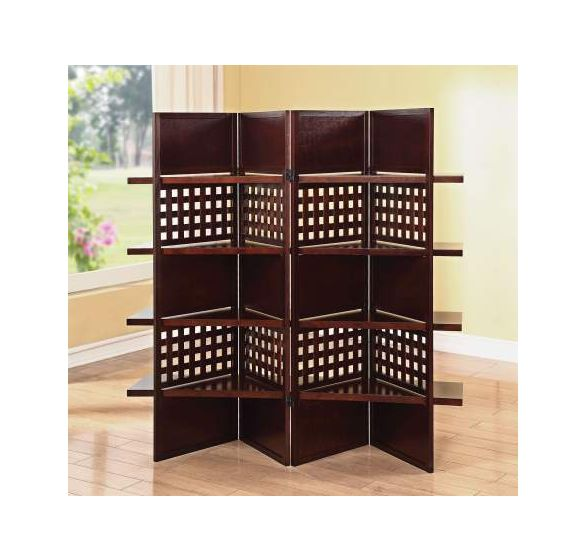 Trudy II 4-Panel Wooden Screen with Dark Brown Finish