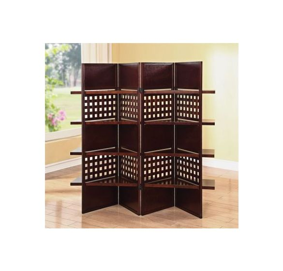 Trudy 4-Panel Dark Brown Wooden Screen with Shelves