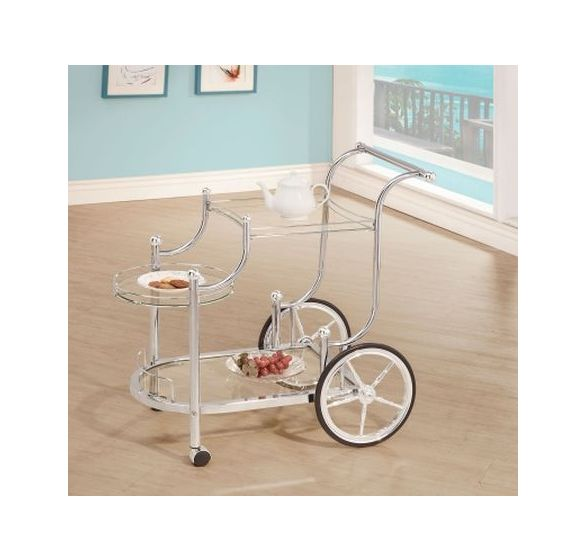 Chrome Wheeled Serving Cart