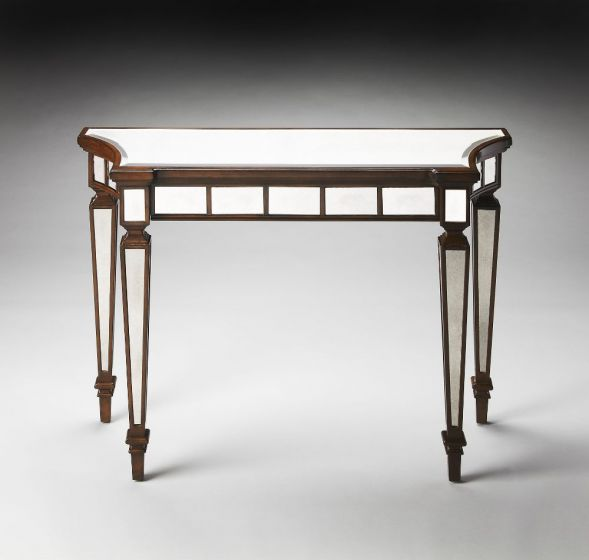 Garbo Mirror And Mahogany Console Table