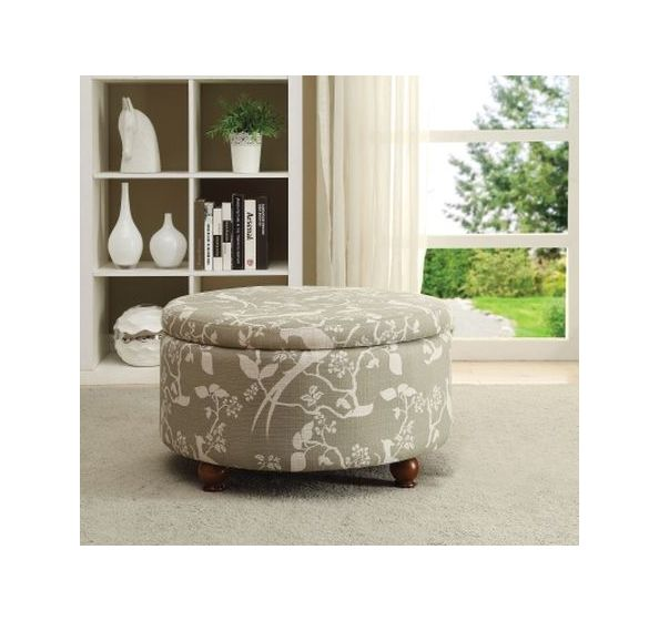 Muted Tone Printed Upholstery Round Storage Ottoman