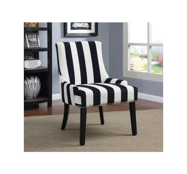 Black White Stripes Vevet Fabric Chair