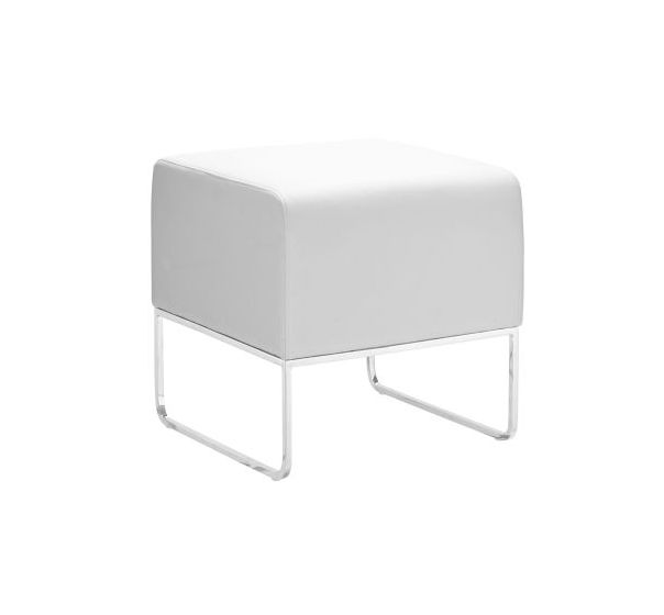 Plush Leatherette Ottoman in White