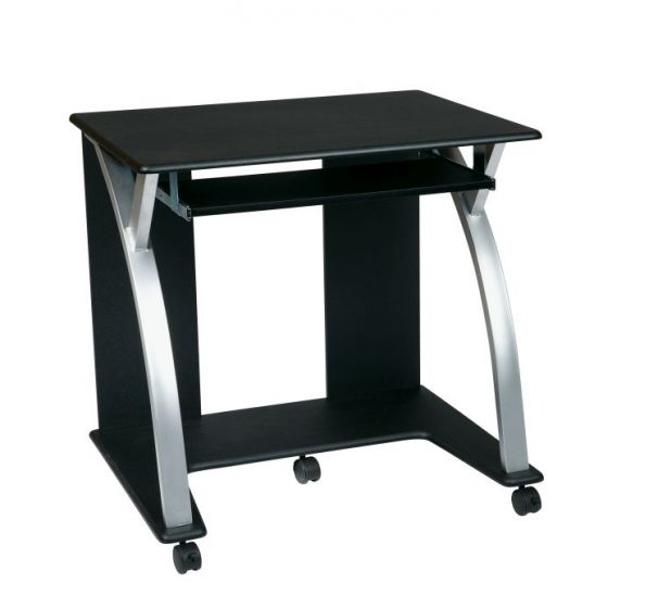 Computer Cart in Black & Silver Accents
