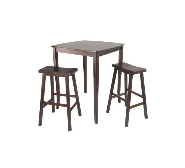 Inglewood 3 Piece Square Pub Stoneberry Dining Set in Walnut