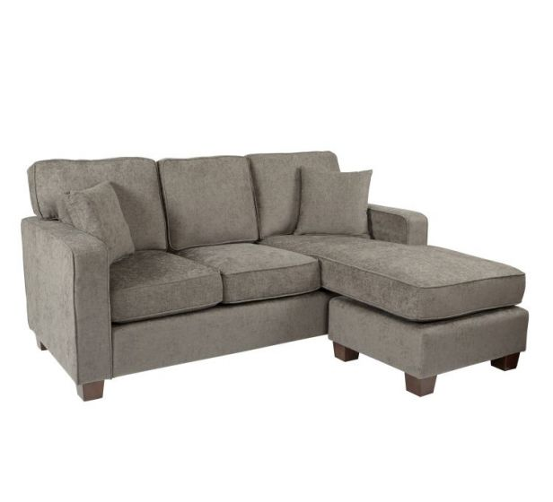 Russell Sectional in Earth fabric with 2 Pillow & Coffee Leg