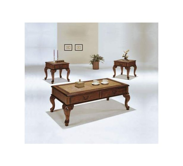Trudeau 3 Piece Coffee/End Table Set in Cherry