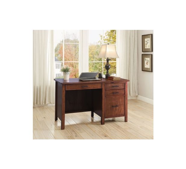 4 Drawer Computer Desk with Outlet in Red Brown