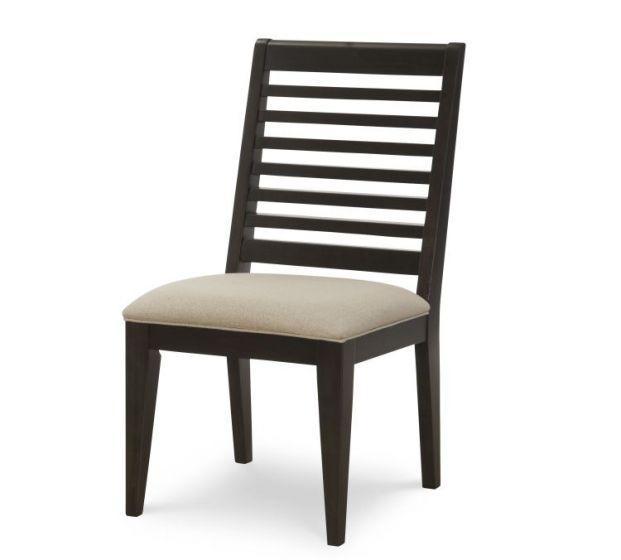 Helix Slat Back Side Chair In Charcoal & Stone