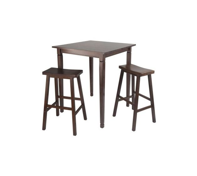 Kingsgate 3 Piece Solid Wood Pub Table with 2 Saddle Stools