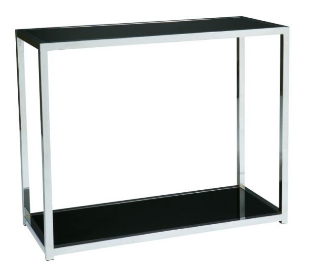 Yield Foyer Table in Chrome & Black Glass