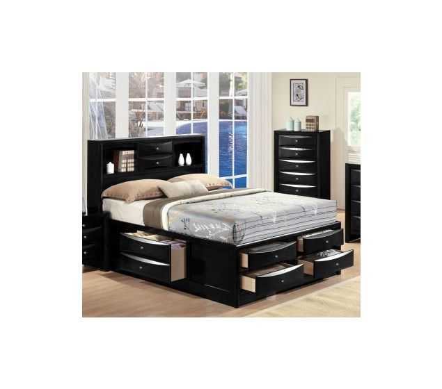 Ireland Black King Storage Bed with Bookcase Drawers