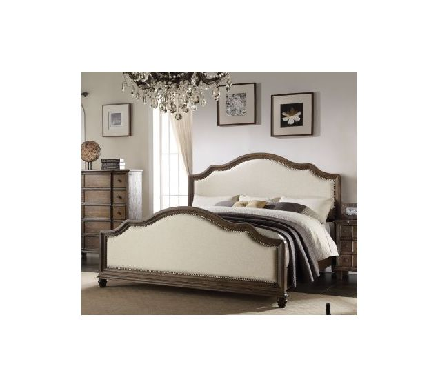 Baudouin Upholstered California King Bed in Weathered Oak