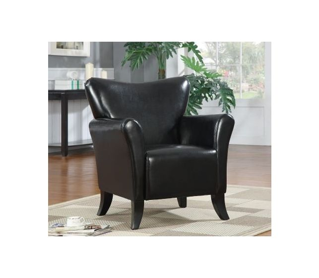 Black Leatherette Upholstered Accent Chair