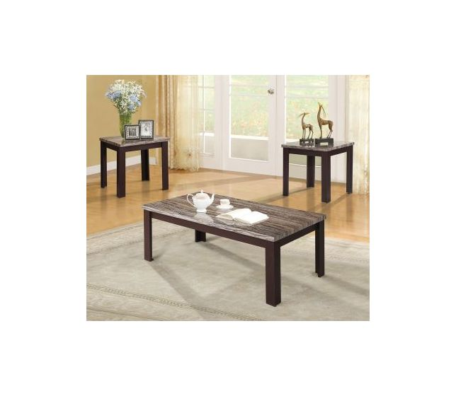 Living Room 3 Piece Table Sets carly 3 piece coffee/end table set in faux marble & cherry