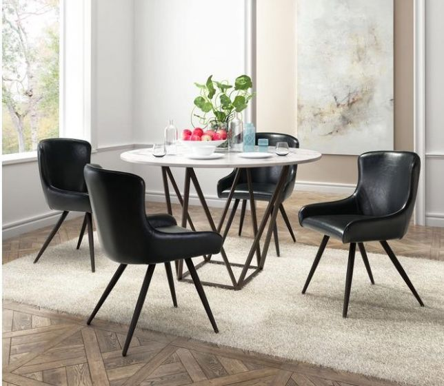 Tintern 5 piece Dining Set in Antique Brass & Black