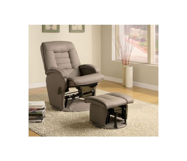 Recliners With Leather Like Vinyl Glider With Ottoman
