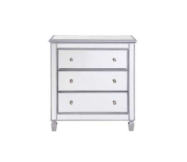 Chamberlan Mirrored 3 Drawer Bedside Cabinet Chests Cabinets Living Room Tables