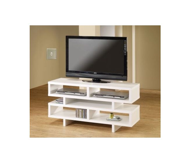 White Media TV Console with Open Storage