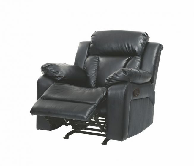 Rocker Tufted back Recliner in Black Faux Leather