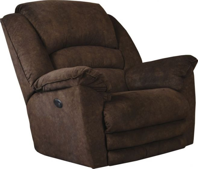 Power Lay Flat Recliner with Extended Ottoman in Chocolate