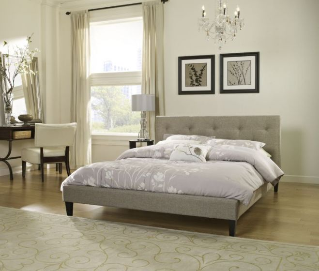 Luca Queen Bed with Mattress in Taupe
