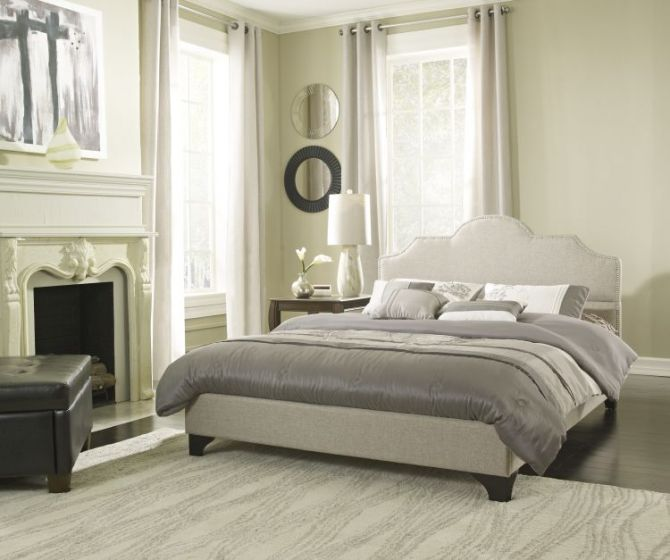 Colby Queen Bed with Mattress in Taupe