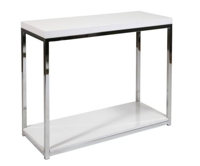 Wall Street Foyer Table in White Melamine & Chrome Finish