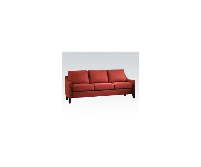 Zapata Aaron's Sofa with Red Linen Finish