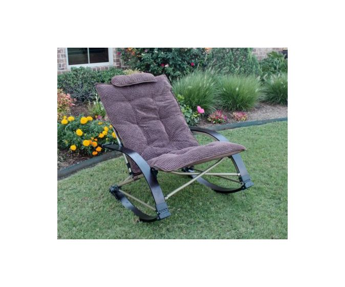 Folding Rocking Chair with Extendable Footrest in Chocolate