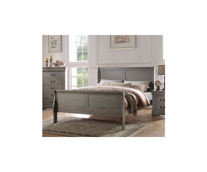 Louis Philippe Gray King Sleigh Bed
