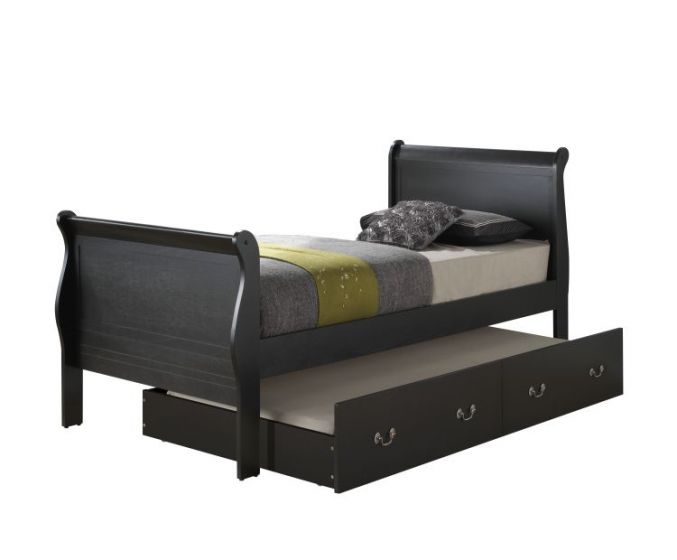 Twin Trundle Bed in Black