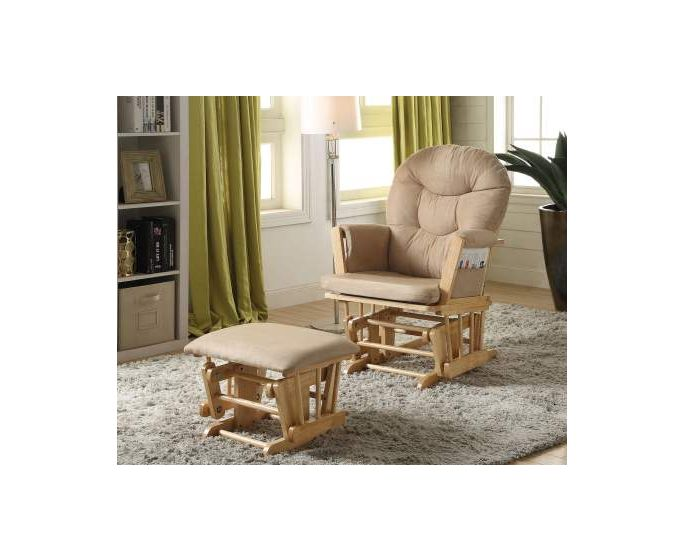 Rehan 2 Piece Glider Chair & Ottoman in Taupe & Natural Oak
