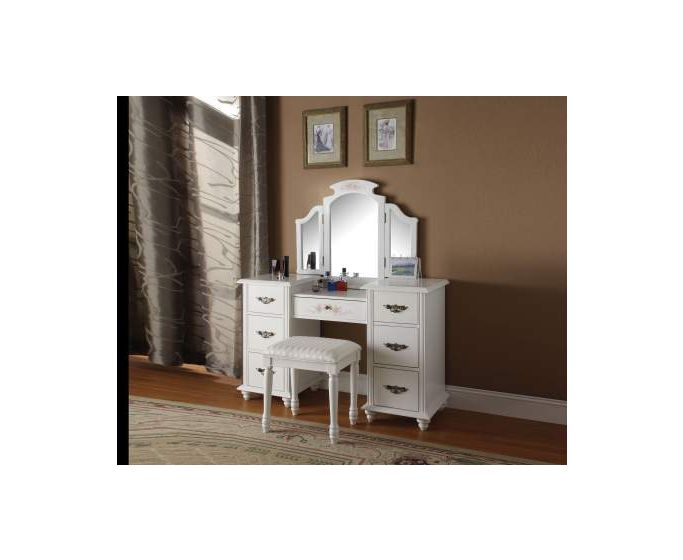 Torian Vanity Desk & Stool in White
