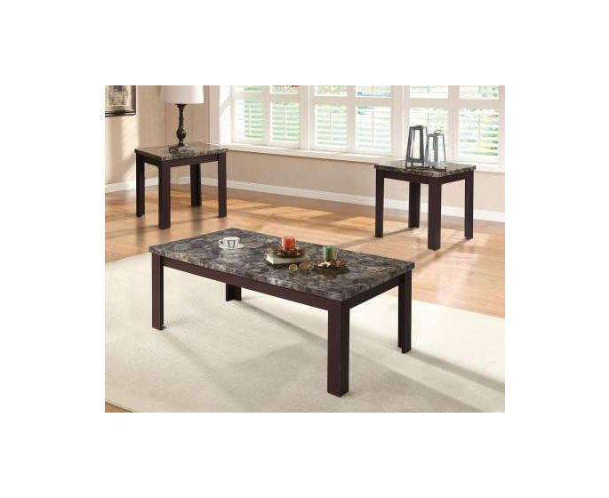 Carly 3 Piece Coffee/End Table Set in Faux Marble & Cherry