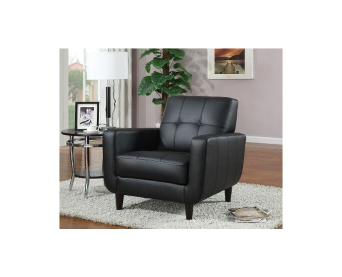 Black Vinyl Upholstered Accent Chair