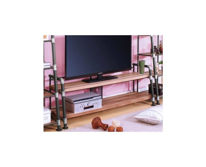 Caitlin II TV Stand in Oak and Sandy Black