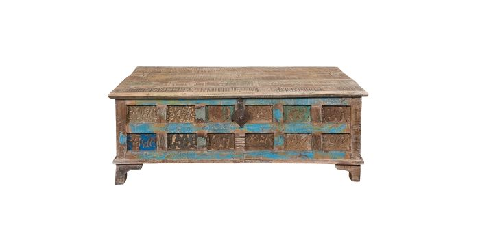 Accent Trunk Cocktail Table with Printblock Pattern