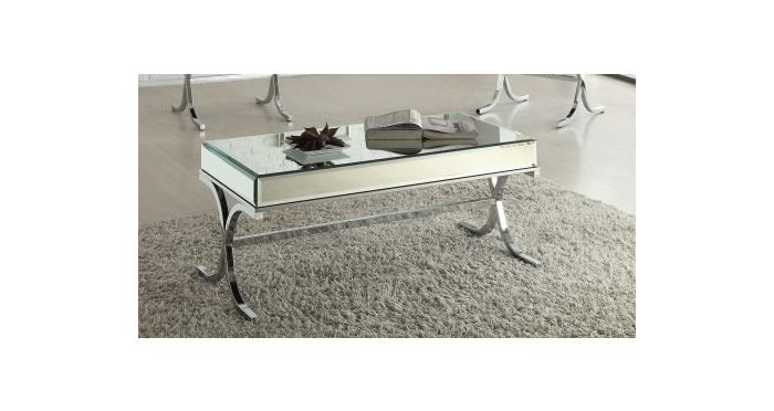 Yuri Coffee Table in Mirrored Top & Chrome