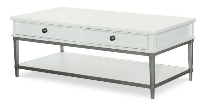 Upstate Cocktail Table With Metal Base In Bianco