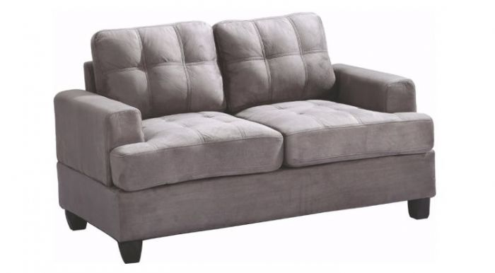 Progressive Loveseat in Grey Suede