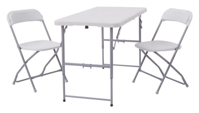 3-Piece Folding Set (2 chairs and table) in Light Grey
