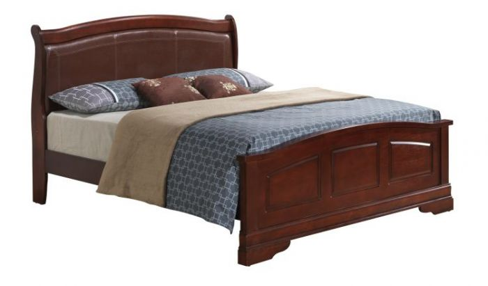 Bob's King Leather Headboard Bed in Cherry